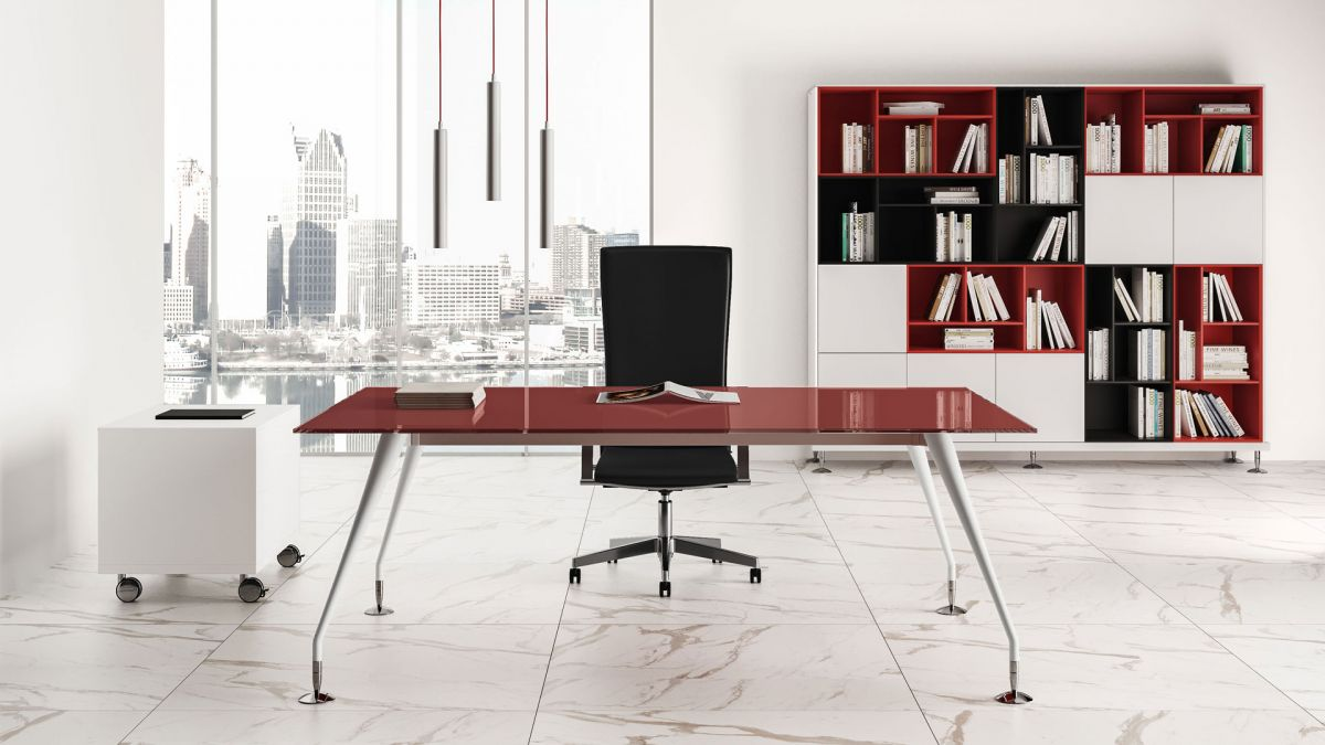 Desk With Red Glass Table Top B205