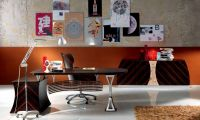 D501 Leather Desk with Steel Legs