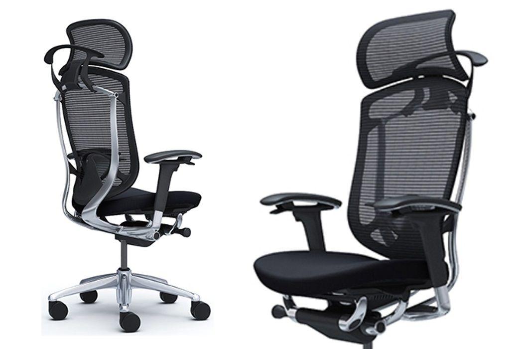 OKAMURA CONTESSA SECONDA Black cushion seat Polished frame Chair