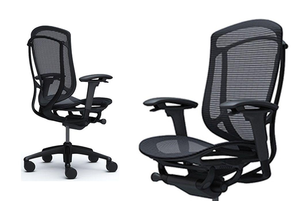 Okamura Contessa Seconda Full Black Mesh Black Aluminium Frame Chair