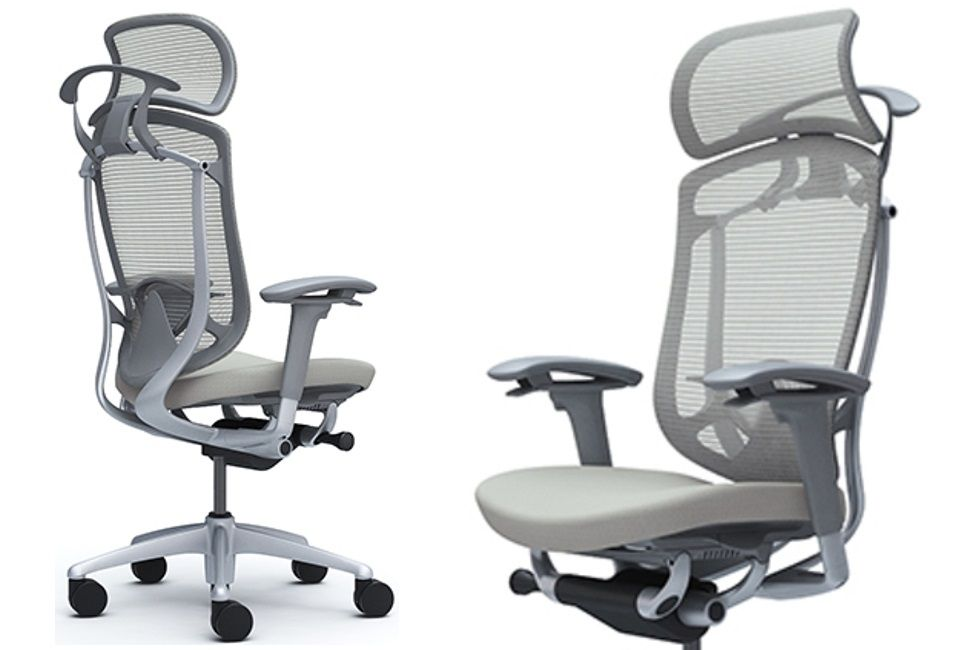 CONTESSA II Grey Body Light grey Cushion Seat Chair with Headrest, Lumbar support and Coat hanger