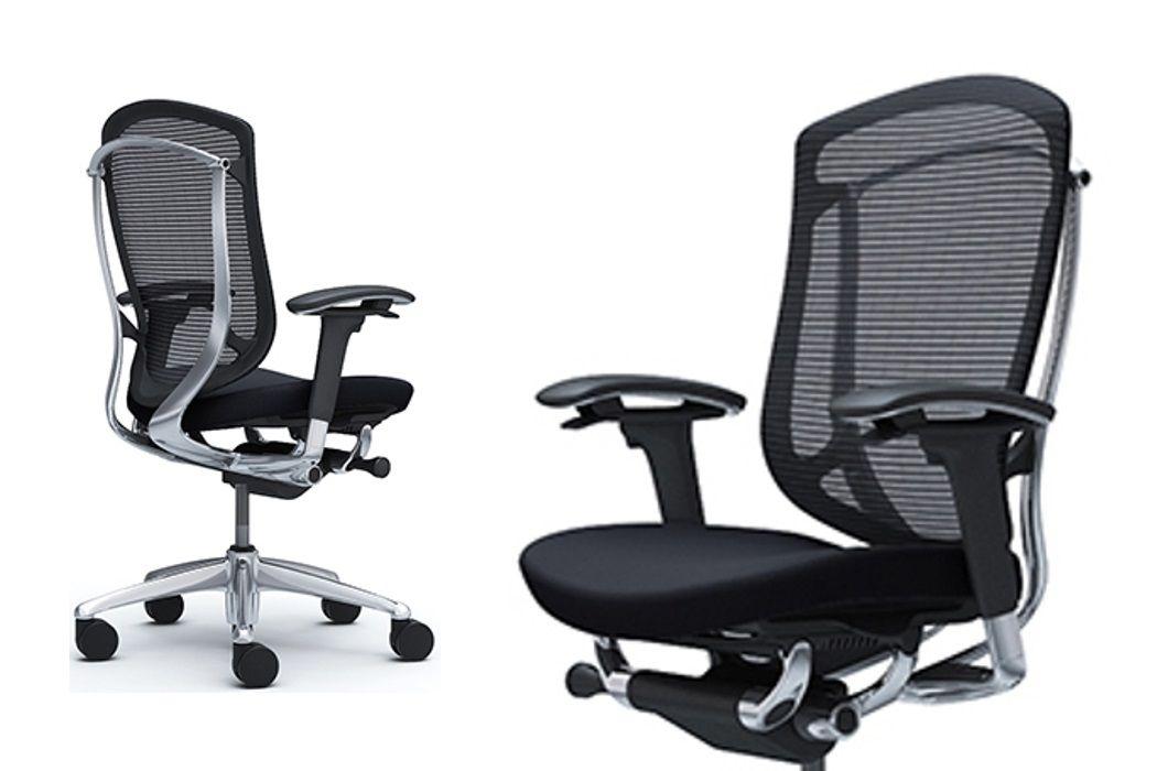 OKAMURA CONTESSA SECONDA Polished frame Black Cushion Seat Chair