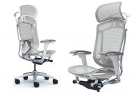 Okamura Contessa Seconda Light grey Mesh White Shell Chair