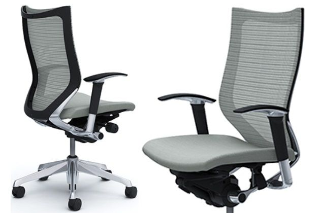 OKAMURA CP Polished frame Grey Cushion Seat Chair