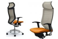 OKAMURA CP White Gradated Mesh Chair Orange seat