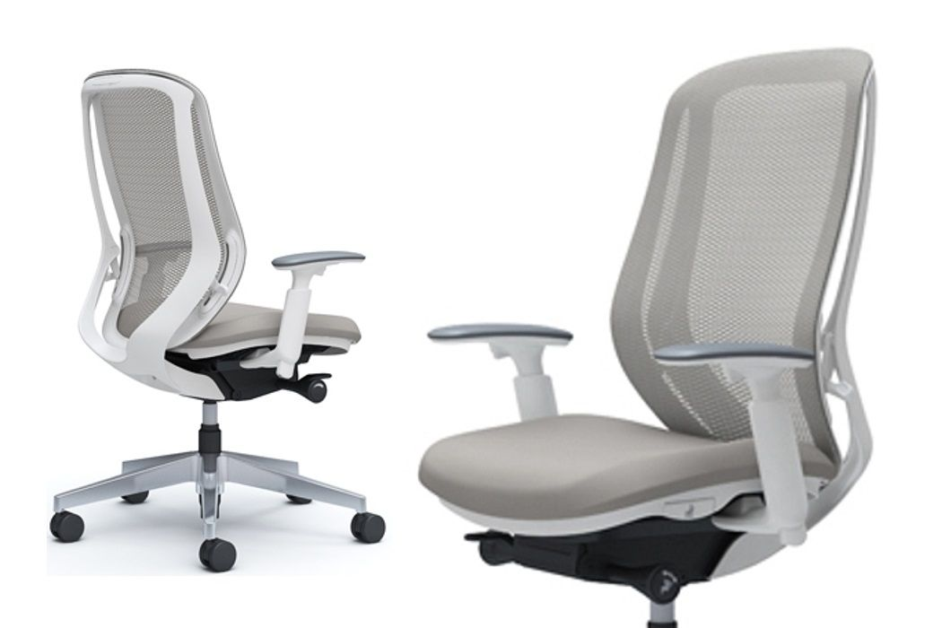 OKAMURA SYLPHY Grey Mesh White Body Chair