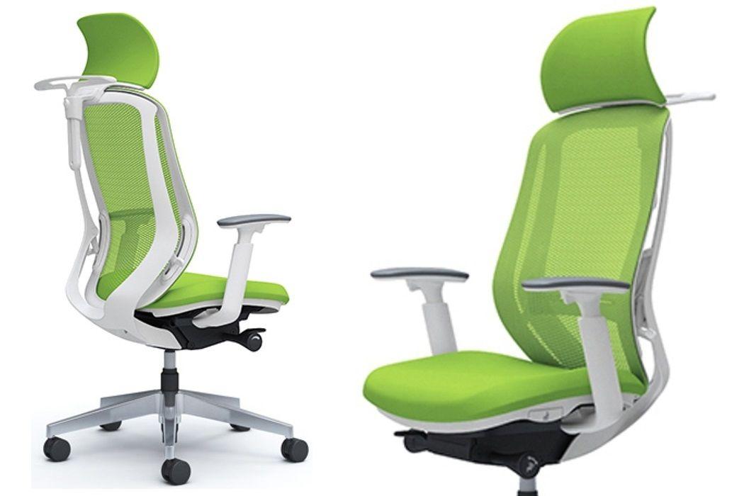 Židle OKAMURA SYLPHY Limetkově Zelená Bílý Plast