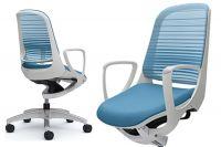 OKAMURA LUCE White body Aqua Blue Mesh Chair