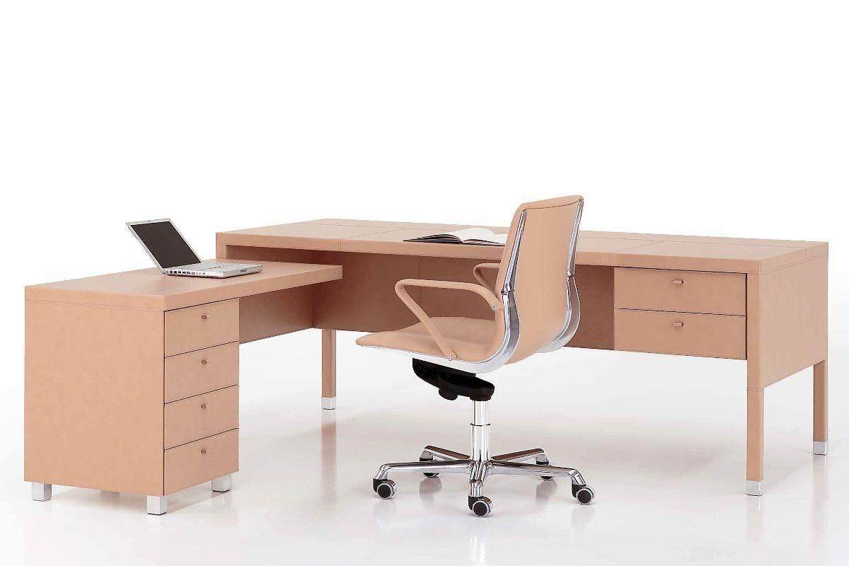 L104 Cream Leather Desk