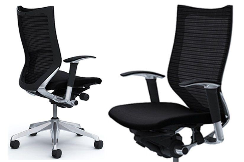 OKAMURA CP Polished frame Black Cushion Seat Chair