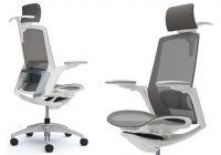 OKAMURA FINORA Chrome frame White body Chair Medium Grey Mesh