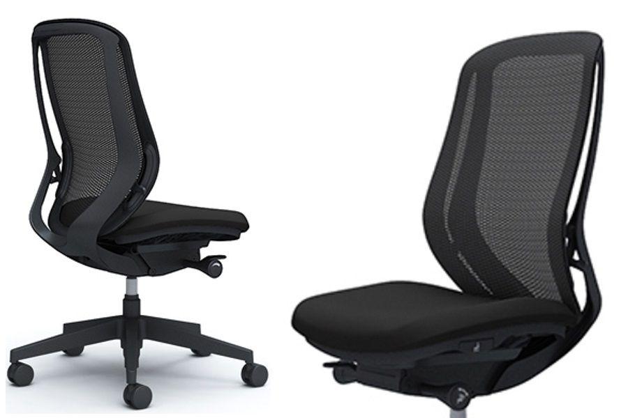OKAMURA SYLPHY Black base Black mesh Meeting Chair