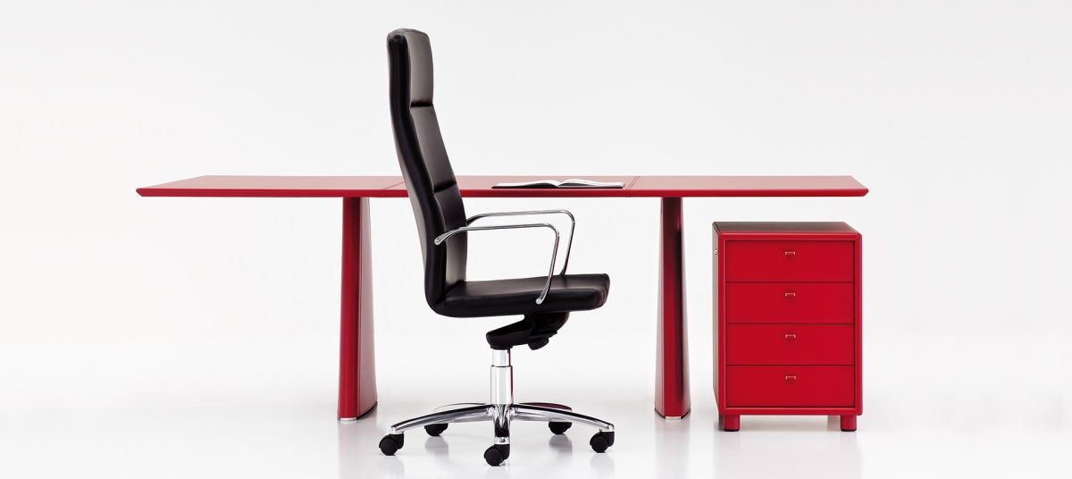 L300 Red Leather Office Desk