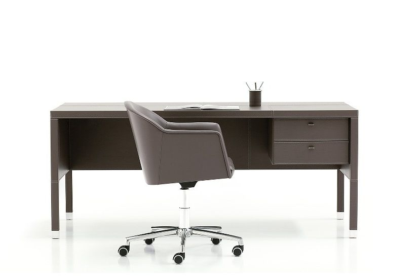 L101 Leather Desk with Drawer Box