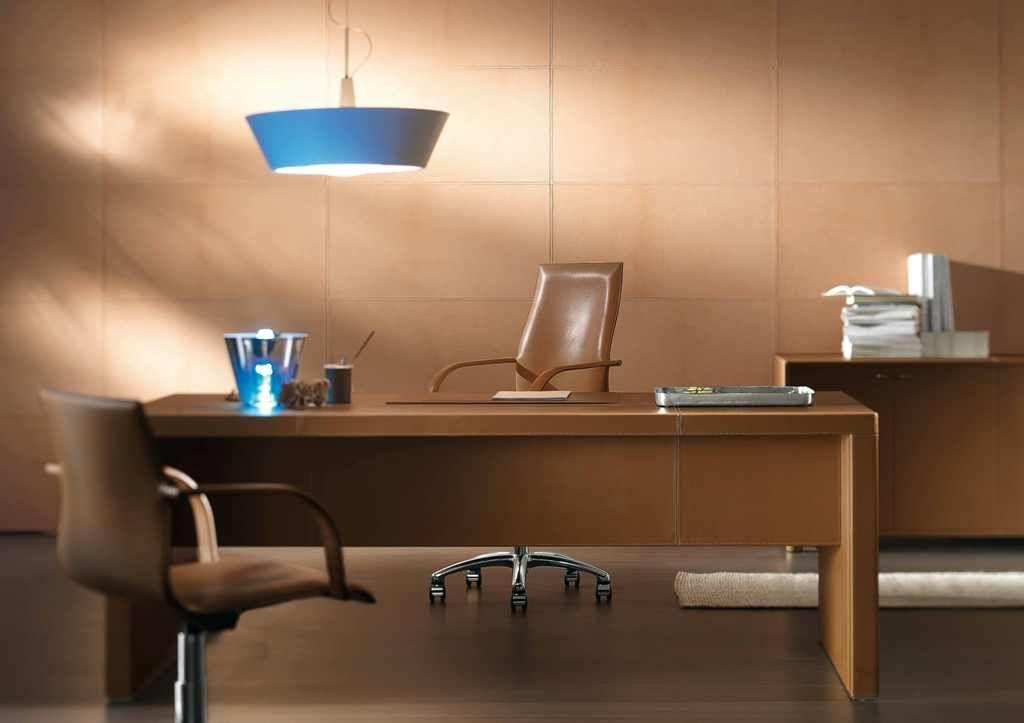 L200 Light Brown Leather Desk