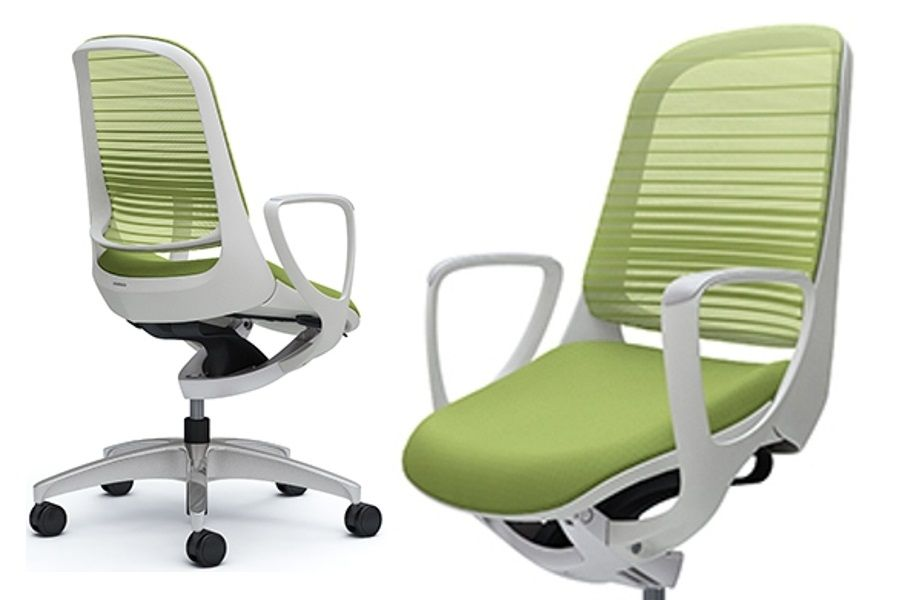 OKAMURA LUCE White body Chair Lime Green